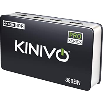 Kinivo 350BN 4K HDMI Switch with IR Wireless Remote (3 Port, 4K 60Hz HDR, HDMI 2.0, High Speed-18Gbps, Auto-Switching)
