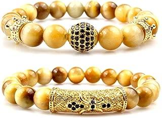 8mm Tiger Eye Natural Stone Beads Bracelet Set Charm Healing Energy Jewelry for Men Women