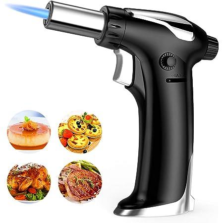 Sopletes De Cocina, Antorcha Butano de Cocinar Ajustable con Cerradura de Seguridad, Llama Antorcha Encendedor para Bricolaje,Crema,Brulée, ...
