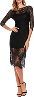 ANGVNS NGVNS Women's Floral Lace 3/4 Sleeve Backless Mermaid Cocktail Party Dress