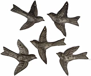 Set of 5 Small Birds Flying, Decorative Figurines, Haitian Recycled Metal Drum Wall..