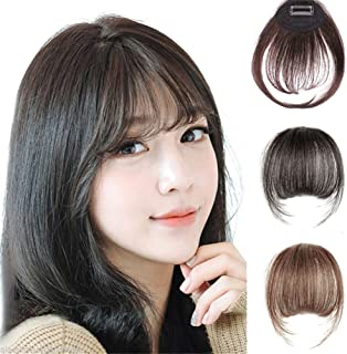 Remeehi Mini Air Flat Bangs/Fringe Hair Extensions Real Human Hair Hand Tied Bangs With Side Temples (Light Brown)
