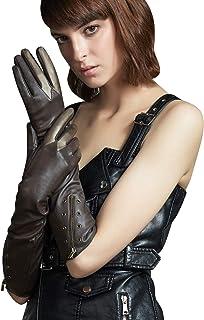 FIORETTO Womens Elbow Gloves Long Winter Warm Dress Gloves Zipper Cuff