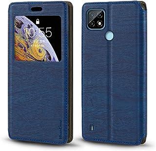 جراب Oppo Realme C21، جراب جلد محبب خشبي مع حامل بطاقات ونافذة، غطاء قلاب مغناطيسي لـ Oppo Realme C21