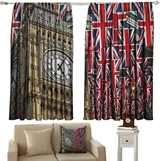GUUVOR Union Jack Shading Insulated Curtain UK Flags Background with Big Ben Festive Celebrations Loyalty Soundproof Shade W100 x L84 Inch Pale Coffee Navy Blue Red