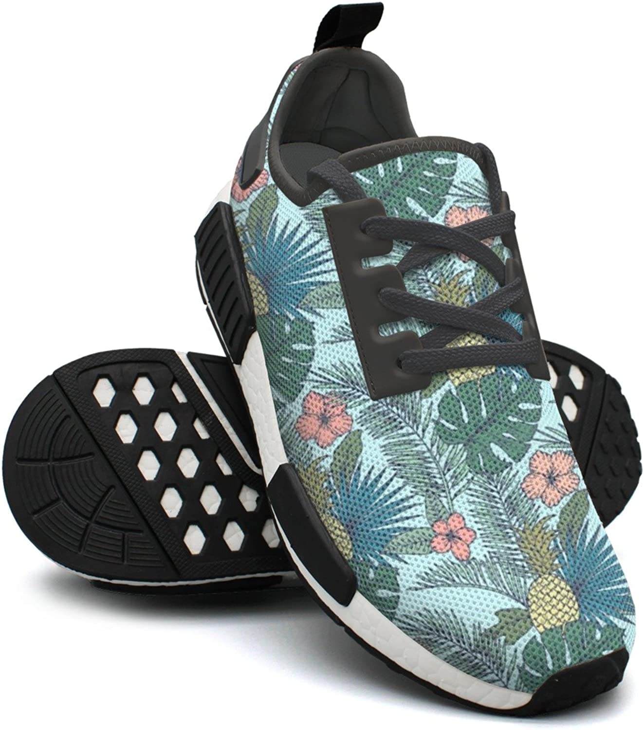 Ktyyuwwww Young Women colorful Cool Tropical Hawaiian Pineapple Palm Leaf Running shoes