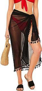Floerns Women's Tassel Trim Sheer Coverup Skirt