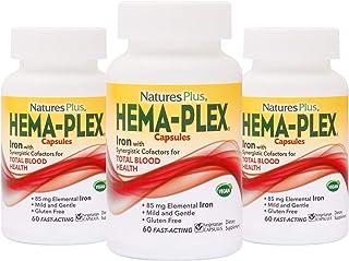 NaturesPlus Hema-Plex Capsules (3 Pack) - 85 mg Elemental Iron, 60 Vegetarian Capsules -Fast Acting Supplement for Total B...