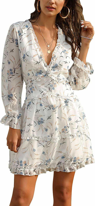 Women's Summer V Neck Long Sleeve Ruffle Mini Dress Flora Print Open Back Chiffon Flowy Swing Short Dresses Casual