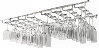 Wallniture Under Cabinet Stemware Rack - Wine Glass Storage Holder 17 Inch Set of 2 (Chrome)