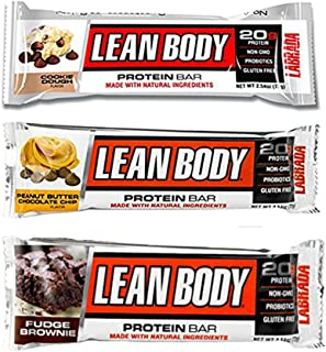 Labrada   Lean Body Protein Bars   Non-GMO, Gluten Free, All Natural Protein Bar Made with Natural Ingredients ( Variety Pack )