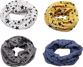 Richaa 4 PCS Infinity Scarves para niños, Star Winter Cotton Neck Warmer para niños niñas Multiuso O-Ring Collar Bufandas ...