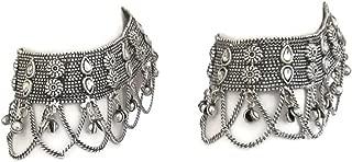 Indian Anklet Bracelet Payal 2 pcs | Wide Layered Chain Fringe Handcrafted Fashion Ankle Jewelry | Bohemian Tribal Gypsy Hippy FreeSpirit Festival Vintage Style | Boho Beach Wedding Barefoot Sandals