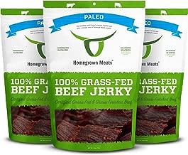 HomeGrown Meats Beef Jerky - Paleo Healthy 100% Grass Fed Gourmet Snacks [3 PK]