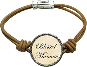SAS Blessed Mamaw Brown Leather Cord Bracelet Jewelry