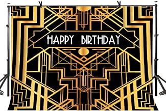 LYLYCTY Birthday Backdrop Great Gatsby Happy Birthday Party Backdrop Black and Gold Golden Banner Western Theme Party Backdrop Photo Studio Booth Prop 7x5ft LYLX730