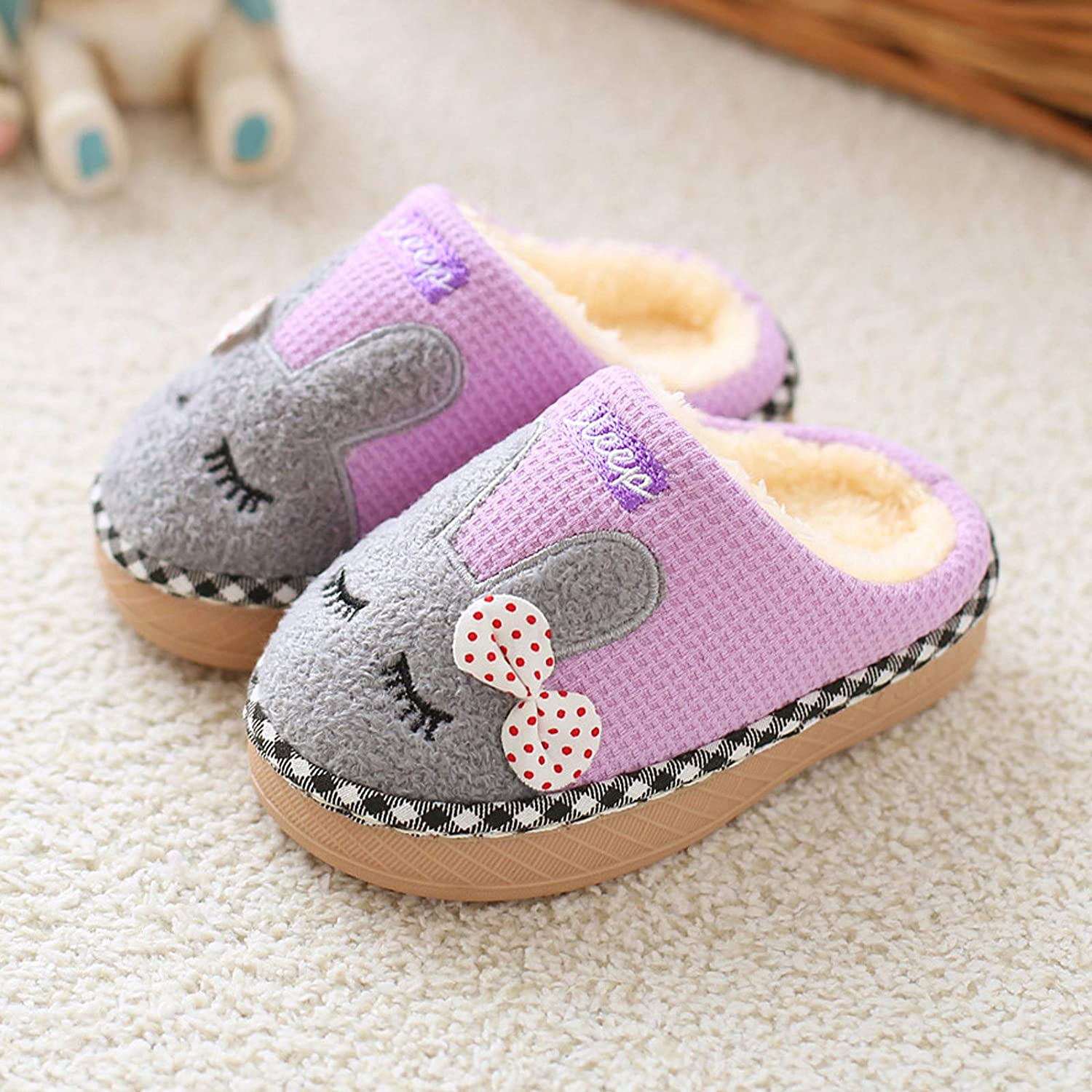 SITAILE Cute House Slippers Boys Girls Fuzzy Fluffy Home Slippers Winter Fur Lined Warm Indoor Slippers for Kids