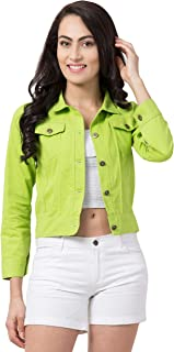 FUNDAY FASHION Self Design Plan Women Cotton Jacket (Neon Green, Small)