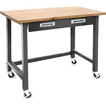 """Seville Classics UltraGraphite Wood Top Workbench on Wheels with Sliding Organizer Drawer Table, 48"""", Satin Graphite"""