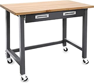 Seville Classics UltraGraphite Wood Top Workbench on Wheels with Sliding Organizer Drawer..