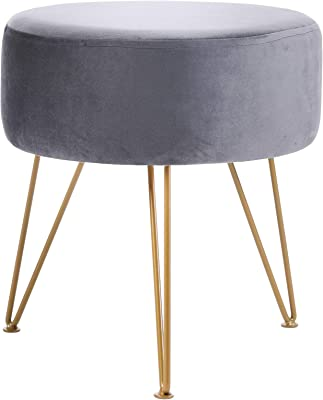 IBUYKE Ottoman Chair Stool Upholstered Footrest Stool Velvet Dressing Table Seat Pouf Couch Stool Golden Steel Legs (DiaxH) 39X45.5cm LG-009