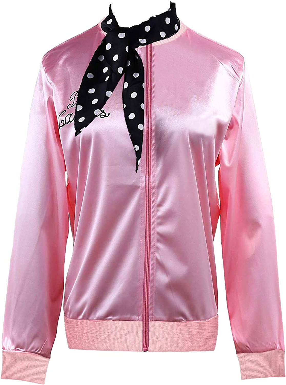 Women's 1950s Pink Satin Jacket with Women Bird unisex Max 86% OFF T Scarf Gir Neck