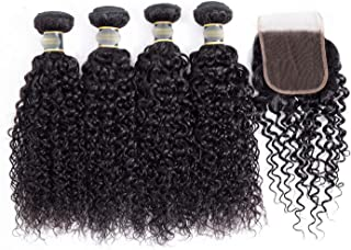 Hair Kinky Curly Non Remy 100% Human Hair Extension 4 Bundles With Lace Closure Natural Color Hair Weave Bundles,22 22 22 22With 20,Free Part