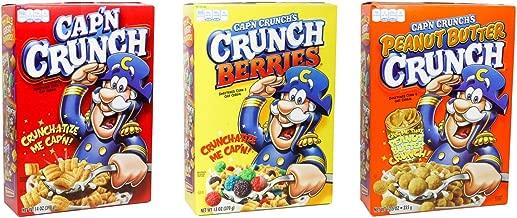Captain Crunch Variety Flavor (3)-pack - Cap'n Crunch Regular Flavor (14 Oz), Cap'n Crunch's Crunch Berries (13 Oz), & Cap'n Crunch's Peanut Butter Crunch (12.5 Oz)