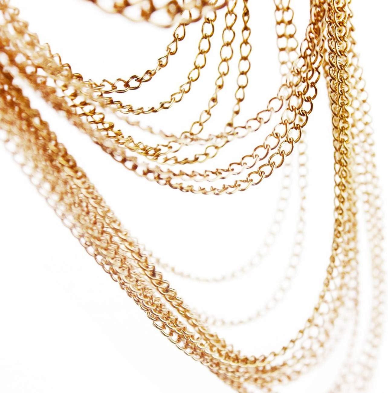 Yomiie Body Shoulder Chain Multilayered Sexy Gold Tassels Beads Link Harness Necklace Fashion Jewelry Belly Waist Bra Love Rocks Hot Bikini Beach Birthday Anniversary Festival Gift for Women Girls