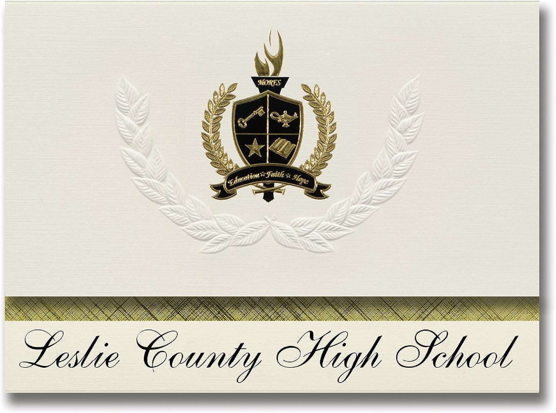 Signature Ankündigungen Leslie County (High School (HYDEN, KY-) Graduation Ankündigungen, Presidential Stil, Elite Paket 25 Stück mit Gold & Schwarz Metallic Folie Dichtung B078VDQ6QG   | Elegantes und robustes Menü