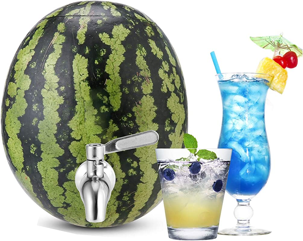 Stainless Steel Watermelon Keg Tap Kit Leakproof NO Clog Pumpkin Fruit Keg Tapping With Coring Tool Adjust Shank Metal DIY Watermelon Spigot For Cocktail Party Ice Tea Drink Dispenser Spout