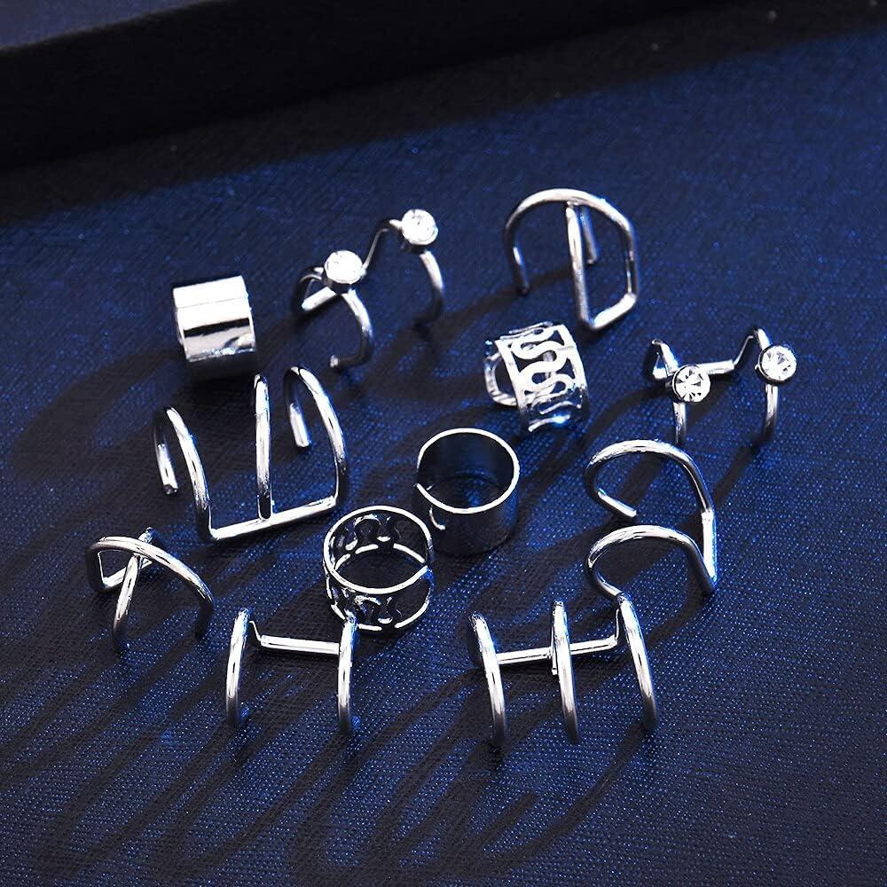 2021 6Pcs/Set Punk Ear Cuffs Leaf Ear Cuff Clip Earrings for Women Earcuff Set No Piercing Fake Cartilage Earrings