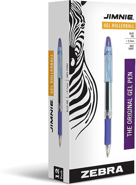 Assorted Pack of 5 Zebra Jimnie Gel Roller Rollerball Pens 0.7mm