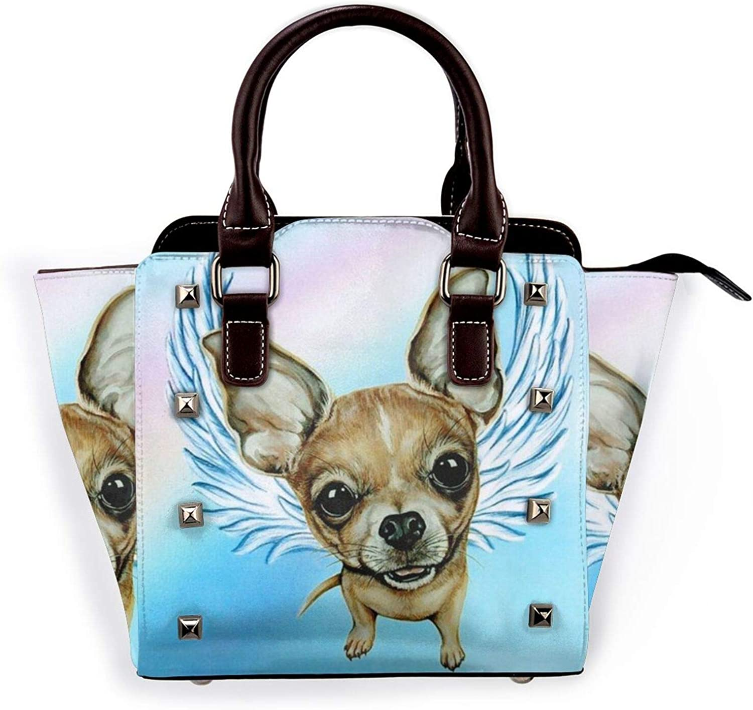 Ladies Fashion Leather Rivet Handbags NEW before selling Wing Angel Chihuahua excellence Brown
