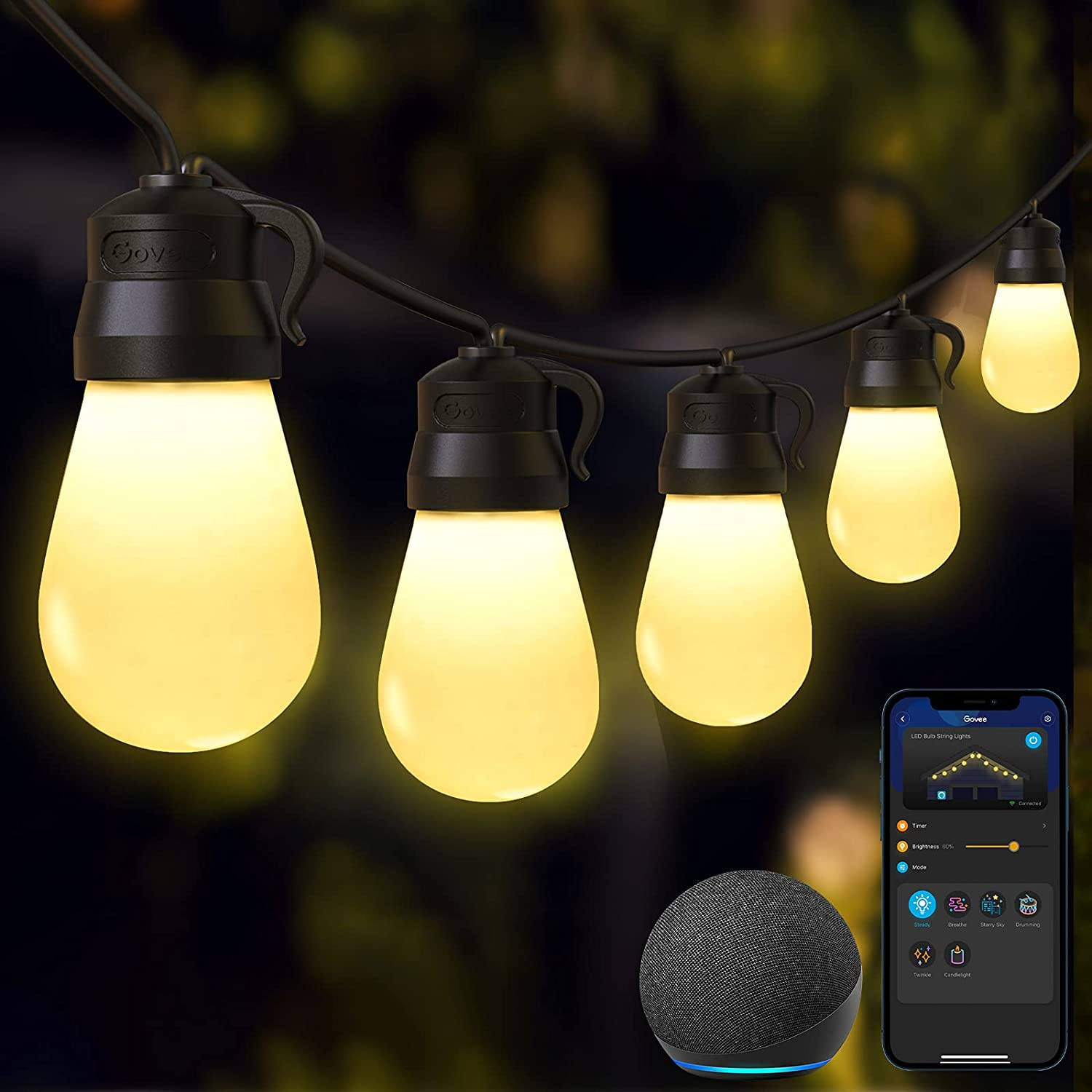 Govee 48ft 15 Dimmable Shatter-Proof Outdoor String Lights  $22.59 Coupon