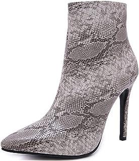 ZHENGRUI Booties dames, modieuze smalle hoge hakken, sexy rits, slangenprint, comfortabel netgaren, splicing laarzen winte...