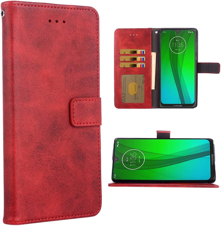 Phone Case for Moto G7/G7+ Plus Folio Flip Wallet Case,PU Leather Credit Card Holder Slots Full Body Protection Kickstand Protective Phone Cover for Motorola G7Plus Moto7 XT1962-1 G 7 7G Red