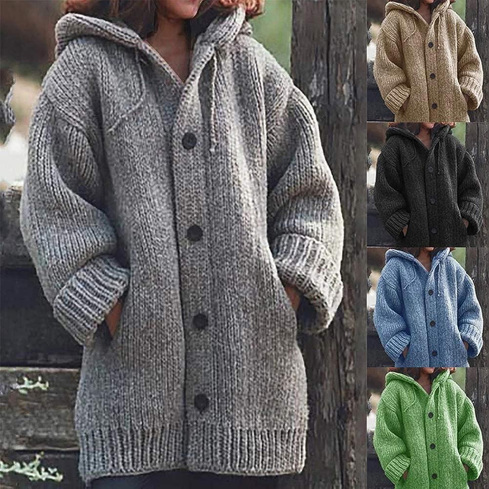 Tomwell Damen Strickjacke Jacke mit Kapuze Cardigan Wintermantel Warme Trenchcoat Lose Langarm Outwear Winterjacke Mode Coat Casual Mantel Parka Orange