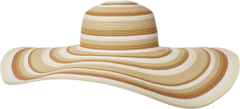 San Diego Hat Company Women's UBX2721 Striped Floppy 8 Inch Brim Sun Hat