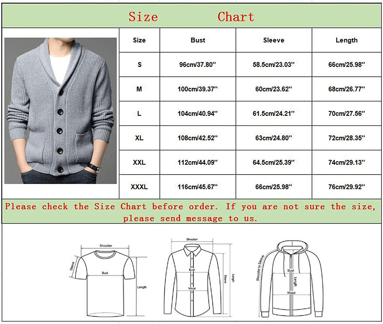 PHSHY Men's Winter Knitted Sweaters Cardigans Soft Touch Shawl Collar Open Front Button Down Coats with Ribbing Edge