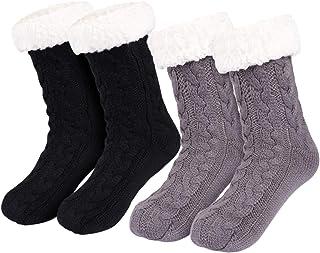 2 Pares Invierno Calcetines Mujer Calcetines Zapatillas Casa Calcetines Antideslizantes Cálido Calcetines con suela Gruesos Lana Zapatilla Calcetin de Piso para Mujer Niña