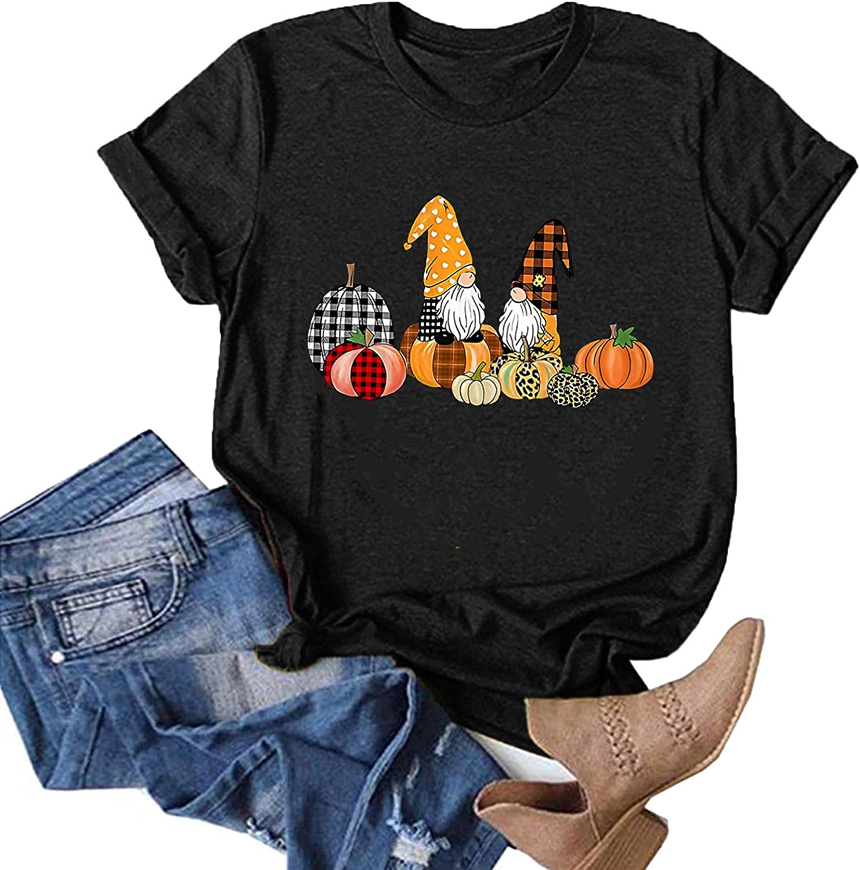 AODONG Womens Tops for Halloween Pumpkin Gnomes Graphic Tee Shirts Short Sleeves T-Shirts Pullover Tops