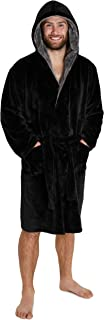 CityComfort Dressing Gown Mens - Super Soft Men's Fleece Dressing Gown in Black or Grey with Hood and Pockets - Great Gift...