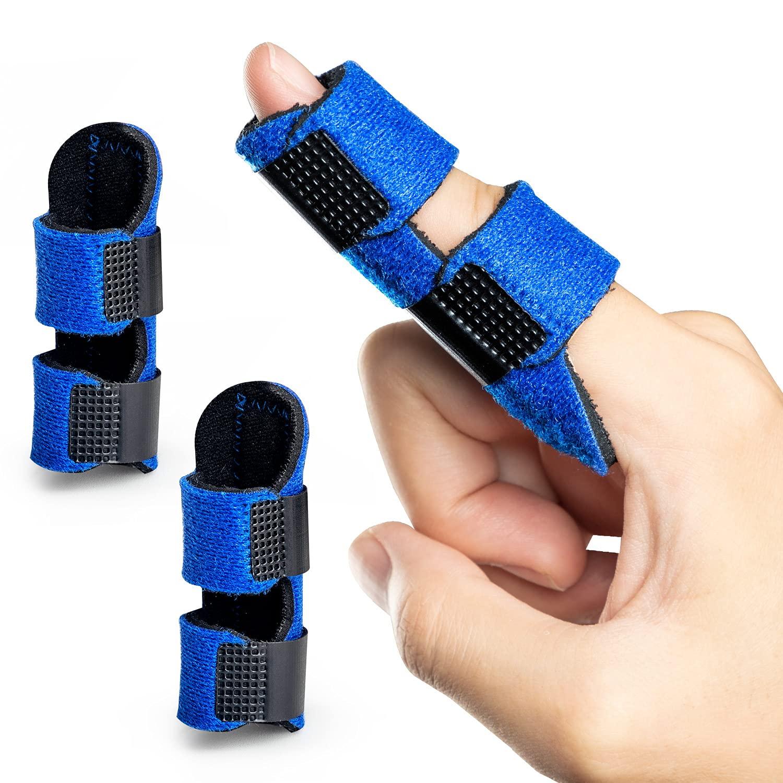 Welnove Finger Braces,2 pcs Finger Splint for Mallet Finger, Trigger Finger, Broken Finger, Finger Stabilizer for Straightening and Provide Support to Index Finger, Middle Finger, Ring Finger -- Blue: Industrial & Scientific