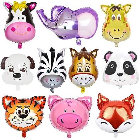 O-Kinee 10 PCS Palloncini Animali Giungla,Animale Foglio di Alluminio Palloncino,Palloncini Animali Elio - L'elio è Permesso,Perfetto per i Bambini Decorazione Festa di Compleanno (10PCS)