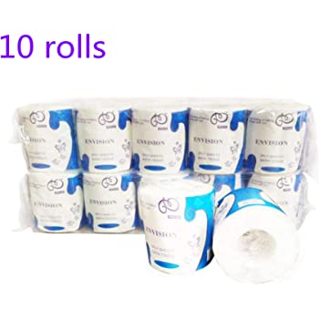 MHB 10 Rolls Toilet Paper,3-Ply Embossed Toilet Paper Rolls,Soft Jumbo Rolls Commercial,Individually Wrapped Standard Rolls