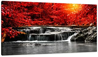 HUADAOART Canvas Wall Art 1 Panel Framed Prints Art Red Waterfall Wall Art Decor Landscape Picture Print on Canvas Modern Large Artwork Ready to Hang for Living Room Bedroom Wall Decoration 20x40inch
