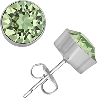 Womens Ladies Fashion Accessories Jewelry Rhodium Plated 8 mm Bezel Set Earrings with Choice of Color Swarovski Crystals