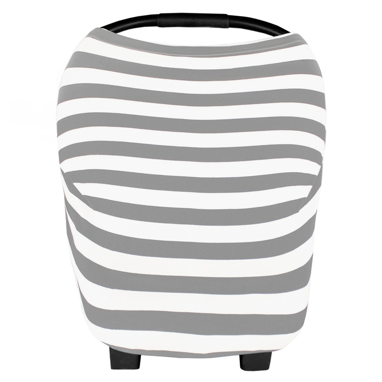 Baby Car Seat Cover and Canopy - Nursing Breastfeeding Infinity Scarf - Multi-Use Nursing Scarf and Stroller Cover - Baby Carrier Cover - Multiple Patterns (Gray and White Stripes)