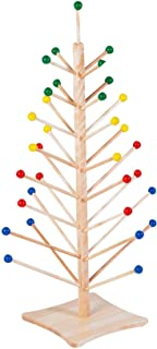 "Angeles Puppet Tree, 14"" by 14"" by 47"" – Natural Wood Color, 33 Dowels from 6""-15"" Long with Colorful Balls at End – Holds Puppets, Hats and More – Solid Maple Puppet Stand – Durable, Lightweight"